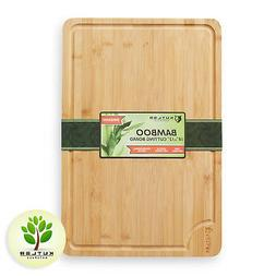 "18""x12"" Bamboo Cutting Board Large Wood Kitchen Butcher Carv"