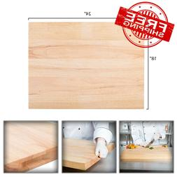 "24"" x 18"" x 1 3/4"" Wood Commercial Restaurant Solid Cutting"
