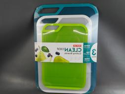 Neoflam 3-piece Cutting Boards Teal, Lime Green, Clear/White