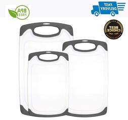 3 Piece Set Cutting Board with Juice Grooves Reversible Non-