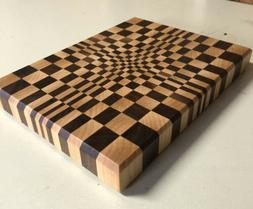 3D End Grain Cutting Board, Handmade with Walnut and Maple W