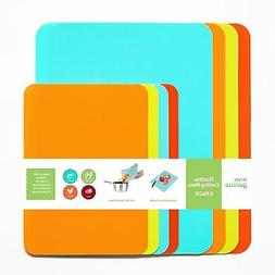 8pc Food Kitchen Cutting Board Mat Set Plastic Flexible Boar