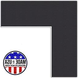 9x18 Smooth Black / Black Custom Mat for Picture Frame with