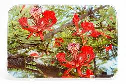 African Red Flower Glass Cutting Board, Hand Imprinted Photo