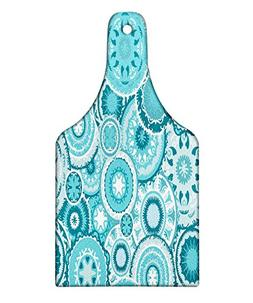 Ambesonne Aqua Cutting Board, Tribal Hippie Ethnic Floral Le