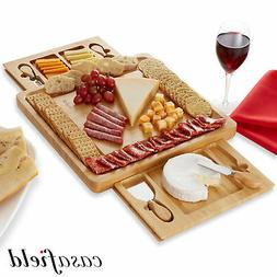 Bamboo Cheese Board and Knife Gift Set, Charcuterie Tray Woo