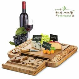 Bamboo Cheese Board with Cutlery Set, Wooden Charcuterie Pla