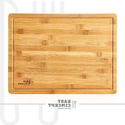 Large 100% Bamboo Cutting Board for Kitchen with Anti-mess D