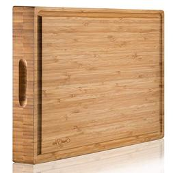 EXTRA LARGE Organic Bamboo Cutting Board & Thick Butcher Blo