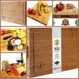 Bamboo Cutting Board Large Multipurpose Reversible Butcher B