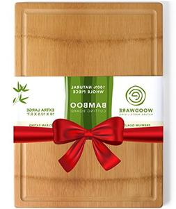 Natural Extra Large Bamboo Cutting Board with Drip Groove &
