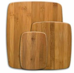 Bamboo Cutting Board Set of 3 Without Handles Hard Woods Dis