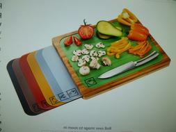 Seville Classics Bamboo Cutting Board with 7 Color Coded Cut