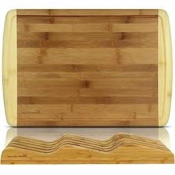 Bamboo Cutting Board Wood Butcher Block Large Grooves Kitche