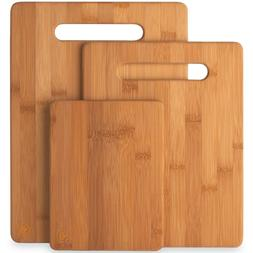 Bambsi 3-Pc 100% Natural Bamboo Cutting Boards by Belmint