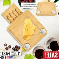 Cheese Board & Tableware Set with Slide-Out Drawer Bamboo Cu