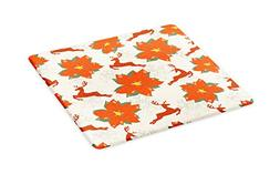 Ambesonne Christmas Cutting Board, Vibrant Poinsettia Flower
