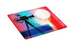 Ambesonne Cinema Cutting Board, Colorful Projector Silhouett