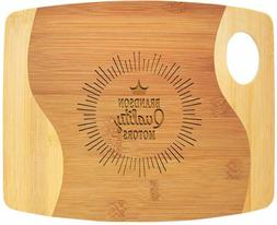 Custom Engraved Bamboo Two Tone Cutting Board with Handle