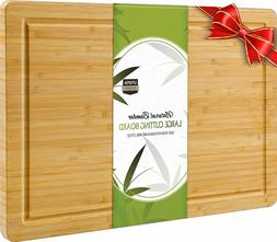 "Extra Large Bamboo Cutting Board 17 x 12"" grooved for Kitche"
