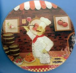 Cutting Board / TRIVET, Glass, ROUND, FAT CHEF with WINE, ap