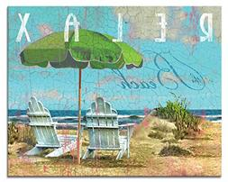 CounterArt Day at The Beach Glass Cutting Board 15in x 12in,