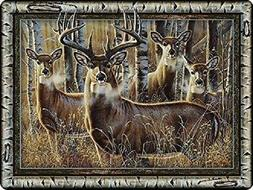 Deer Family in Birch Frame Tempered Glass Cutting Board ~ Ri