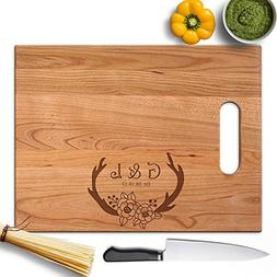 Froolu Deer Floral cutting boards made in usa for Initials E