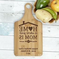 """Engraved Home is Where Your Mom is Paddle Cutting Board, 7"""""""