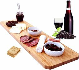 Extra Large Bamboo Cheese Board Platter - 30 Inch Long Charc