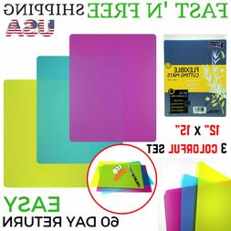 Flexible Plastic Cutting Board Mats set, Colorful Kitchen Cu