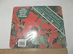 "GLASS CUTTING BOARD - 12"" x 10"" CHRISTMAS Poinsettias NEW! S"