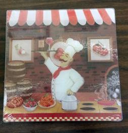 GLASS CUTTING BOARD / TRIVET, SQUARE, FAT CHEF WITH WINE, ap