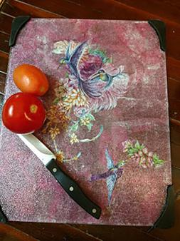 Gorgeous Hummingbirds & Flowers Large Tempered Glass Cutting
