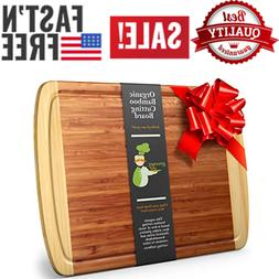 Greener Chef Extra Large Organic Bamboo Cutting Board for Ki