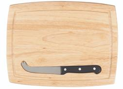 Hardwood Grooved Cutting Board with Cheese Knife