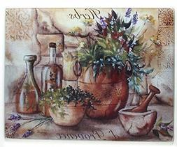 Grant Howard Herbs de Provence Glass Cutting Board, 12 x 15