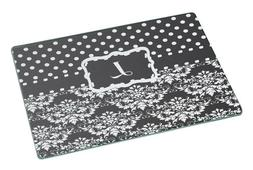 "Rikki Knight Initial ""L"" Grey Black Damask Dots Large Glass"