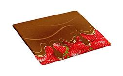 Ambesonne Kitchen Art Cutting Board, Strawberries Melted Cho
