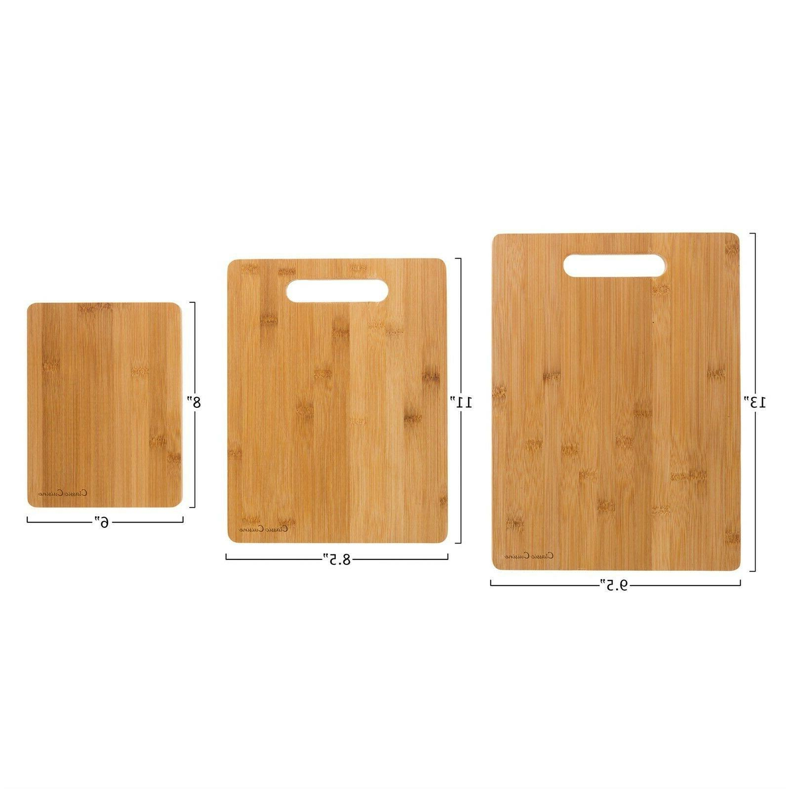 3 Bamboo Cutting Boards Antibacterial Carving Serving Board