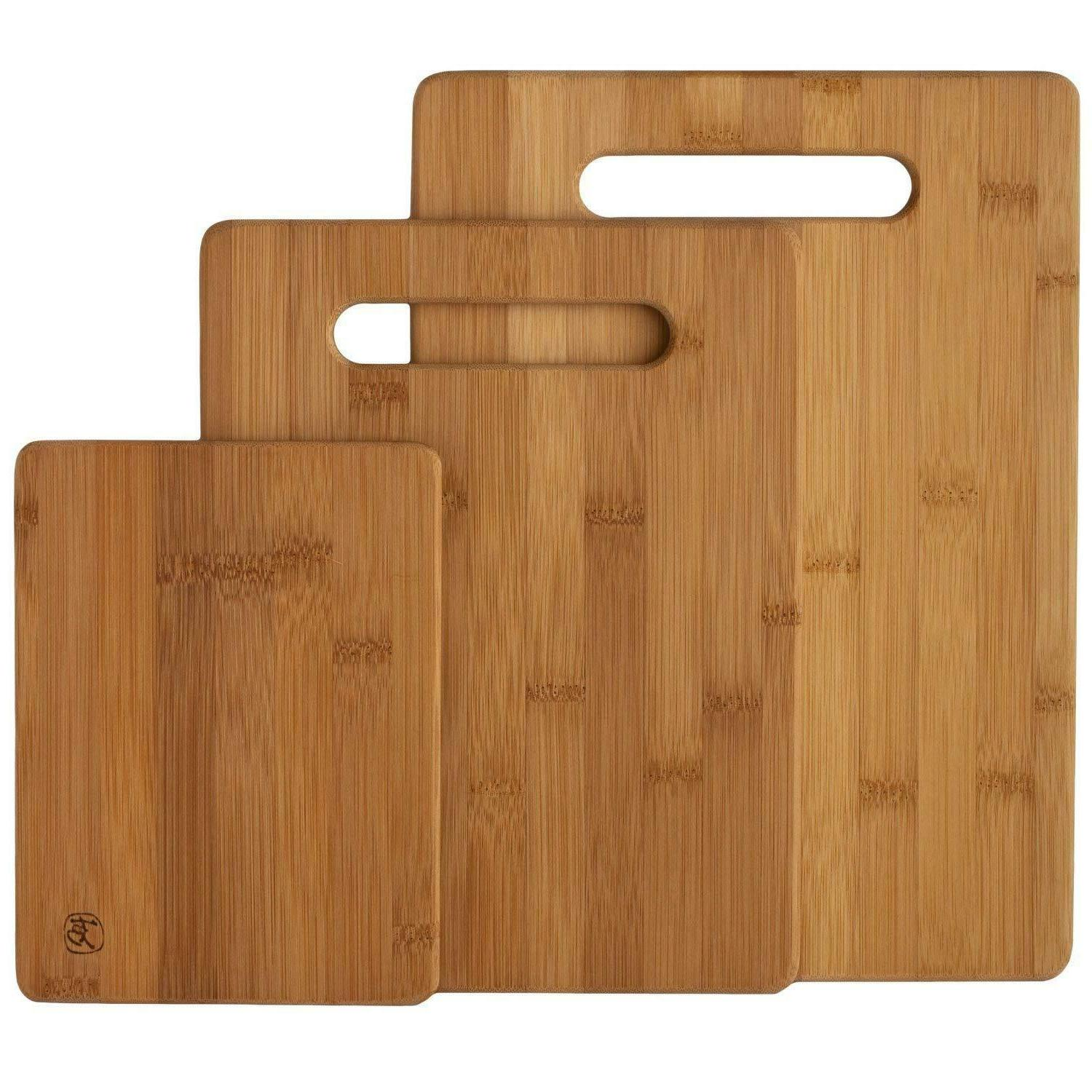 3 Piece Bamboo Cutting Board Set Wood Chopping Boards For Me