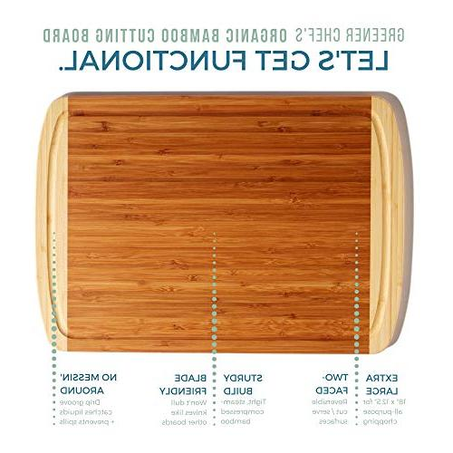 Extra Large Organic Bamboo Cutting Board - - Boards w/ Groove for Wooden Butcher Block for & Cheese