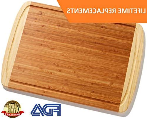 Extra Large Organic Cutting Board Kitchen - NEW DESIGN - Wood Boards for Carving Meat, Butcher Vegetables & Cheese
