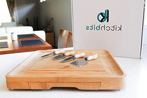 Bamboo Cheese Knife Set kitchbits - charcuterie serving slide-out cutlery steel - Great cutting cheeses and meat