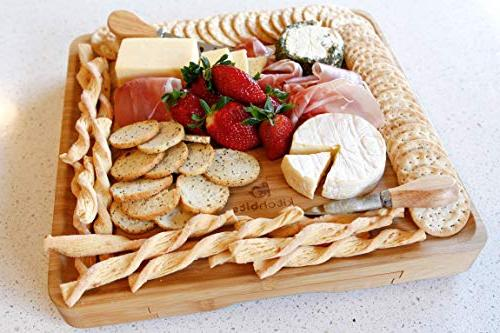 Bamboo Board and Knife Set kitchbits - Portable serving boards cutlery drawer steel knives and - for cutting cheeses
