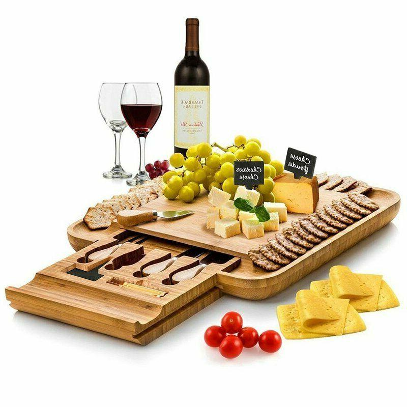 bamboo cheese board with cutlery set wood