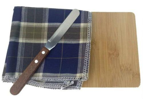 bamboo cheese cutting board and cotton napkins