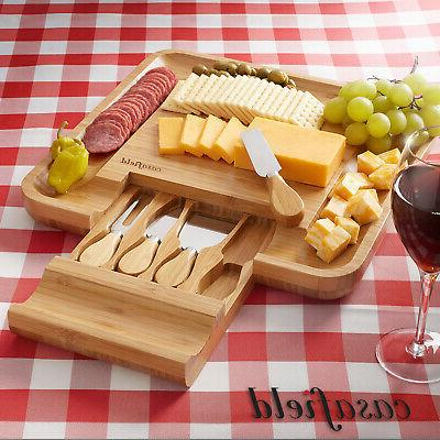 Bamboo Cutting Board Knife Set Charcuterie Meat Serving