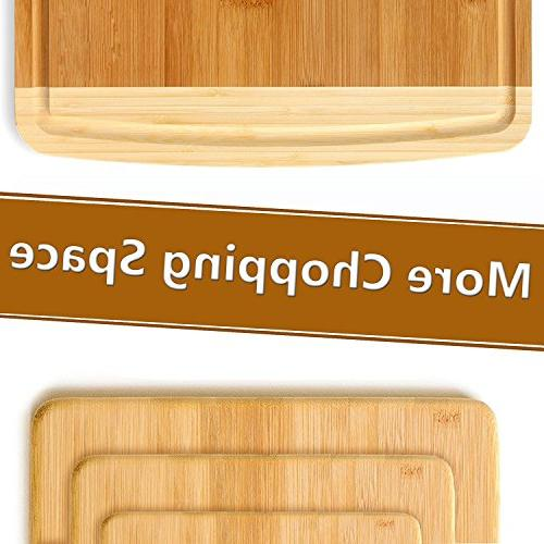 Premium Set of 4 - with Juice Groove Food Meat, Vegetables, Fruits, Cheese - 100% Craftsmanship