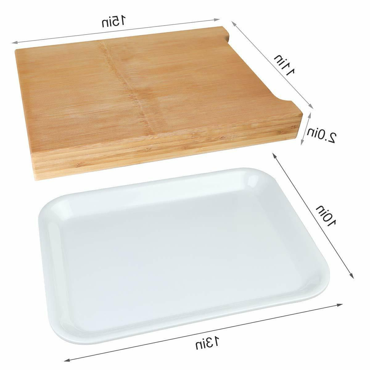 Bamboo Cutting Board with Trays Serving Cheese Cooking
